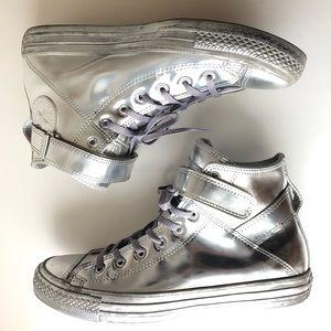 Converse Metallic Silver High Top Shoes sz 9